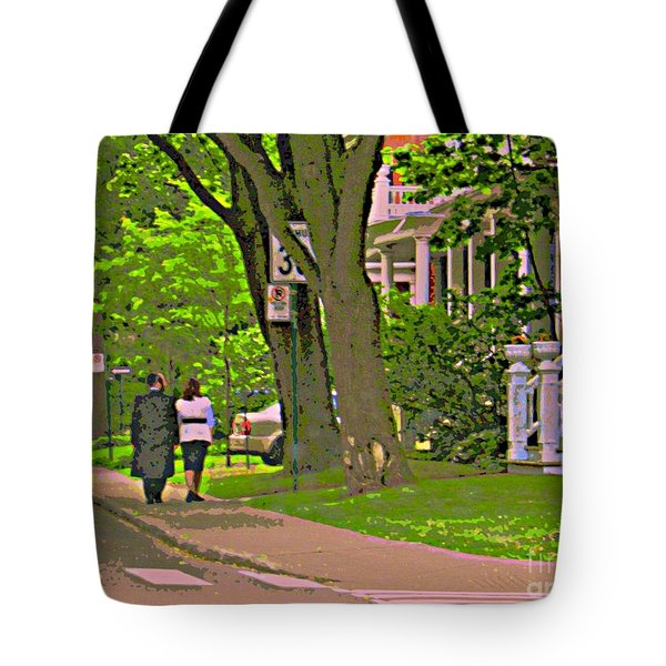 Springtime Stroll Through Beautiful Tree Lined Outremont Montreal Street Scene Art By Carole Spandau Tote Bag by Carole Spandau