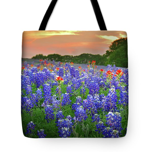 Springtime Sunset In Texas - Texas Bluebonnet Wildflowers Landscape Flowers Paintbrush Tote Bag