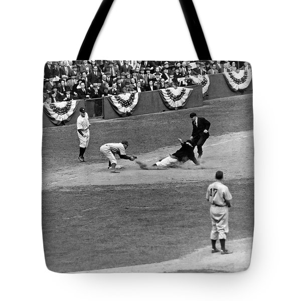 Spud Chandler Is Out At Third In The Second Game Of The 1941 Wor Tote Bag by Underwood Archives
