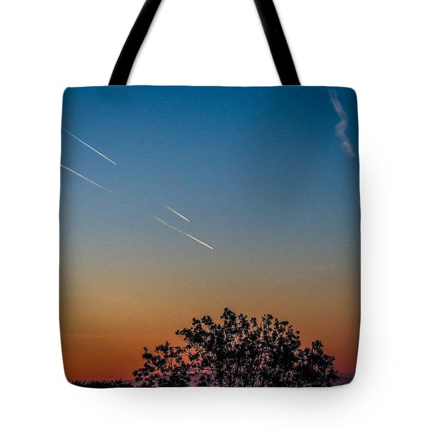 Squadron Of Jet Trails Over Ireland Tote Bag
