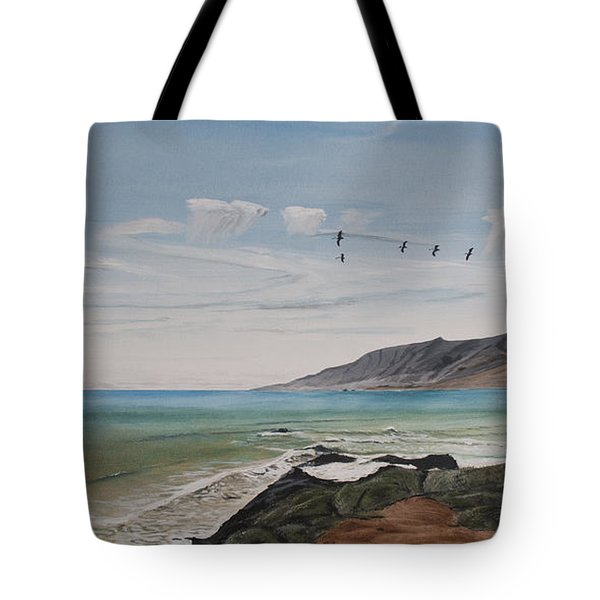 Tote Bag featuring the painting Squadron Of Pelicans Central Califonia by Ian Donley