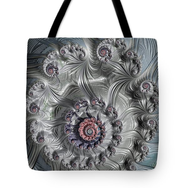 Square Format Abstract Fractal Spiral Art Tote Bag