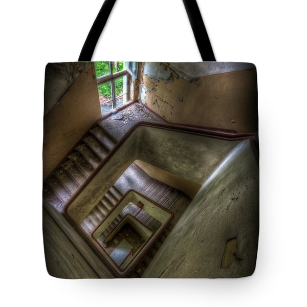 Squares Going Down Tote Bag