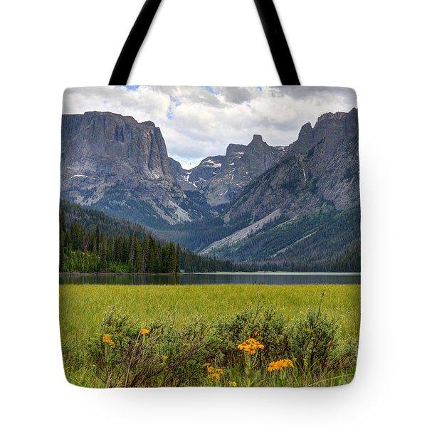 Squaretop Mountain And Upper Green River Lake  Tote Bag