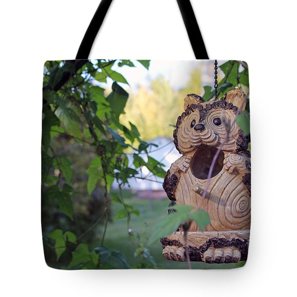 Squirrel Bird Feeder Tote Bag