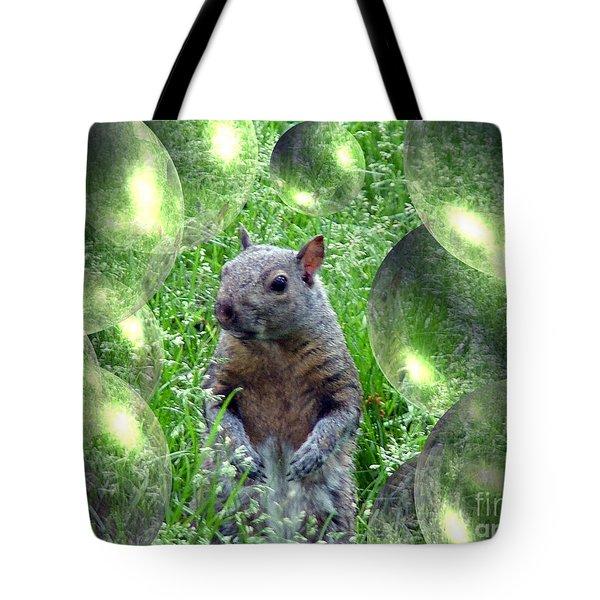 Squirrel In Bubbles Tote Bag