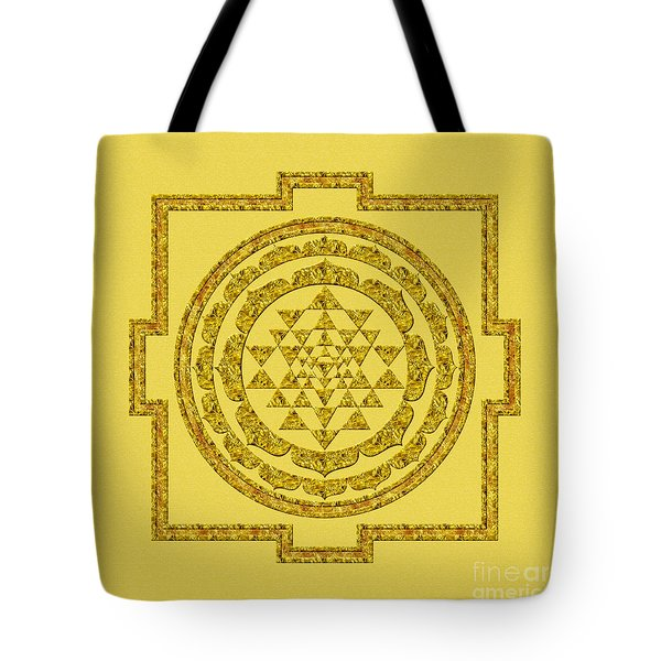 Sri Yantra In Gold Tote Bag