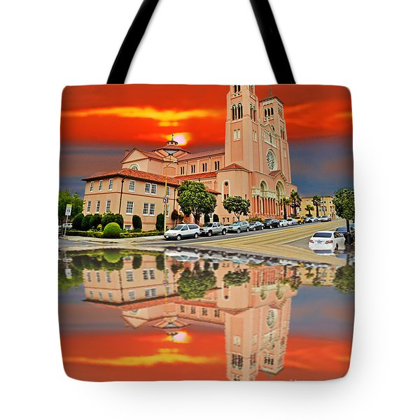 St Anne Church Of The Sunset In San Francisco With A Reflection  Tote Bag