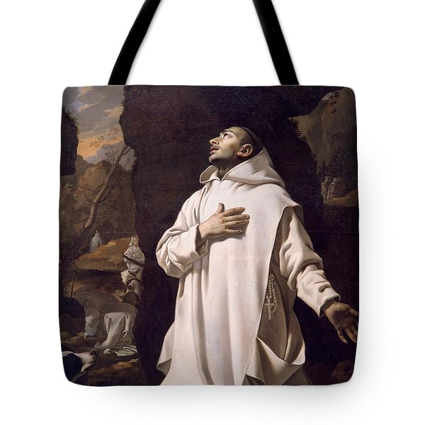 St Bruno Praying In Desert Tote Bag by Nicolas Mignard