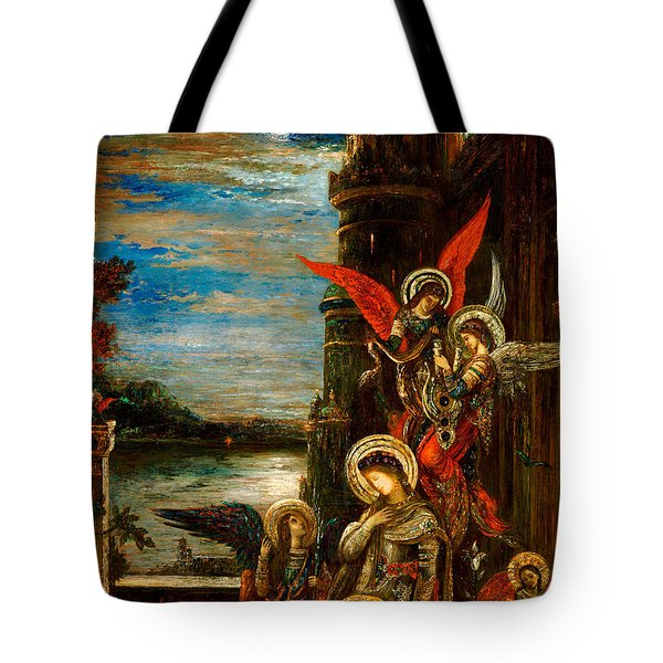 St Cecilia The Angels Announcing Her Coming Martyrdom Tote Bag by Gustave Moreau