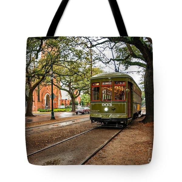St. Charles Ave. Streetcar In New Orleans Tote Bag by Kathleen K Parker