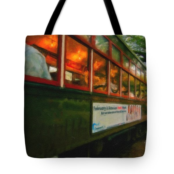 St. Charles Ave Streetcar Whizzes By - Digital Art Tote Bag by Kathleen K Parker