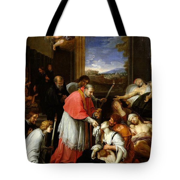 St. Charles Borromeo 1538-84 Administering The Sacrament To Plague Victims In Milan In 1576 Oil Tote Bag