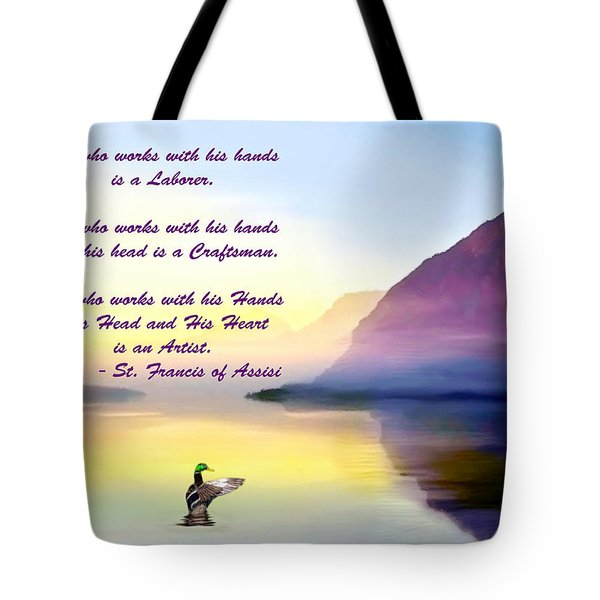 St Francis Of Assisi Quotation Tote Bag