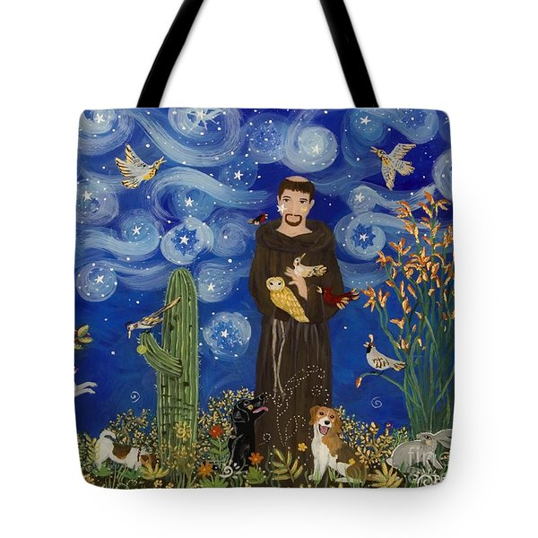 St. Francis Starry Night Tote Bag