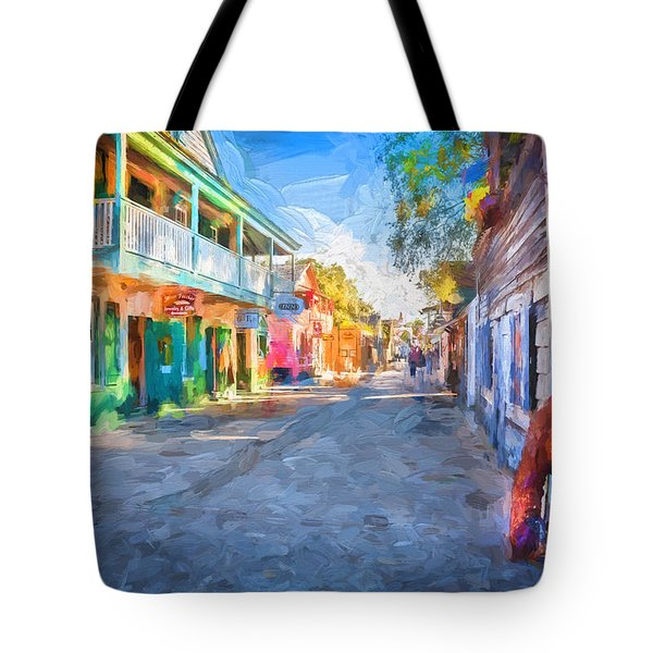St George Street St Augustine Florida Painted Tote Bag by Rich Franco