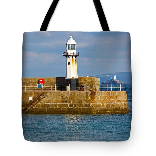 St Ives And Godrevy Lighthouses Cornwall Tote Bag by Terri Waters
