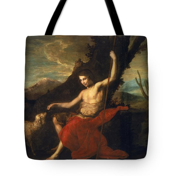 St. John The Baptist In The Wilderness Oil On Canvas Tote Bag