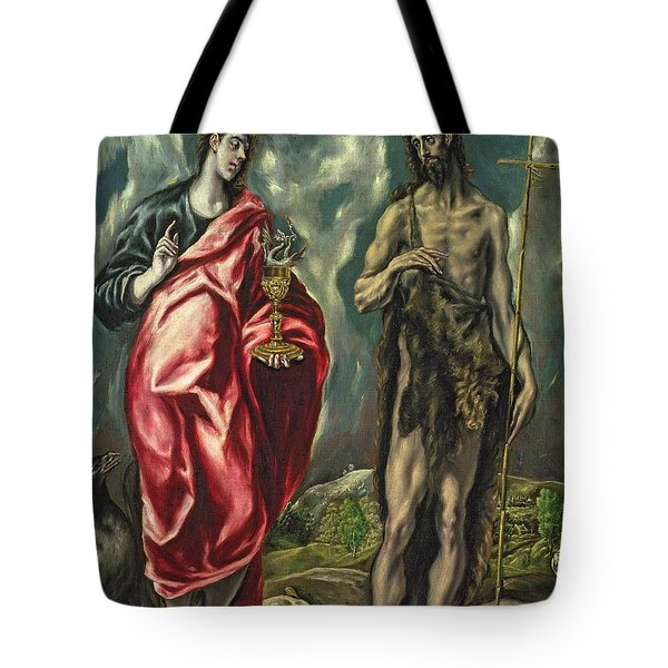 St John The Evangelist And St John The Baptist Tote Bag by El Greco Domenico Theotocopuli