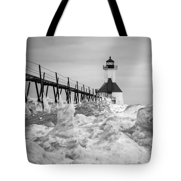 St. Joseph Lighthouse In Ice Field Tote Bag