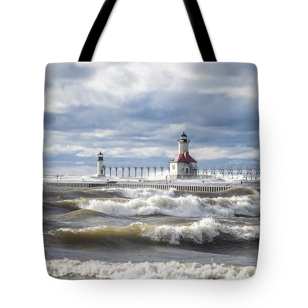 St Joseph Lighthouse On Windy Day Tote Bag
