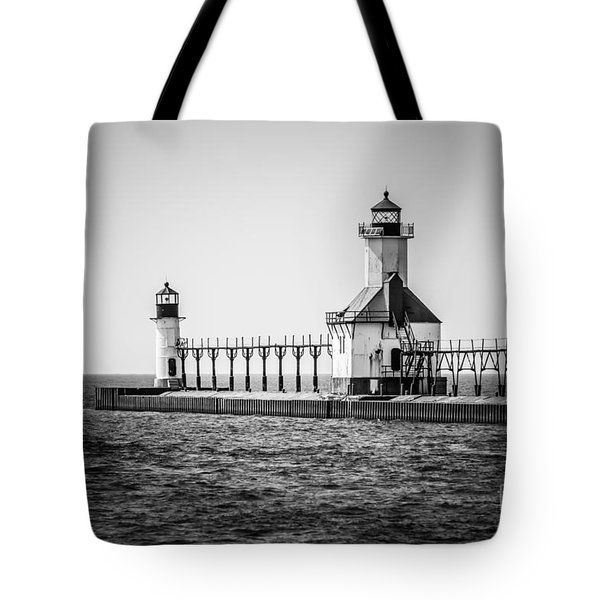 St. Joseph Lighthouses Black And White Picture  Tote Bag by Paul Velgos