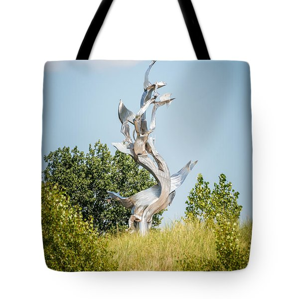 St. Joseph Michigan And You Seas Metal Sculpture Tote Bag by Paul Velgos