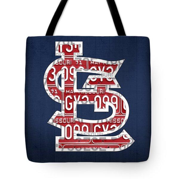 St. Louis Cardinals Baseball Vintage Logo License Plate Art Tote Bag