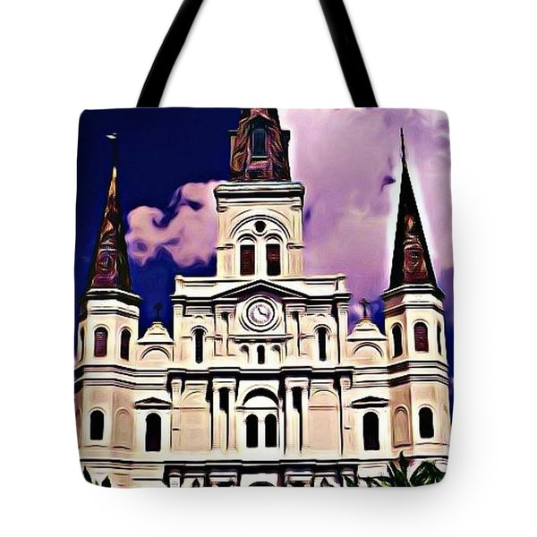 St Louis Cathedral In New Orleans Tote Bag by John Malone