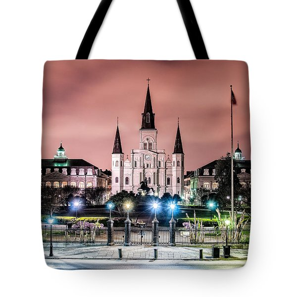 St. Louis Cathedral In The Morning Tote Bag by Andy Crawford