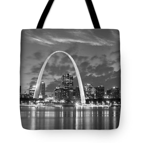 Tote Bag featuring the photograph St. Louis Skyline At Dusk Gateway Arch Black And White Bw Panorama Missouri by Jon Holiday