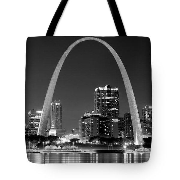Tote Bag featuring the photograph St. Louis Skyline At Night Gateway Arch Black And White Bw Panorama Missouri by Jon Holiday