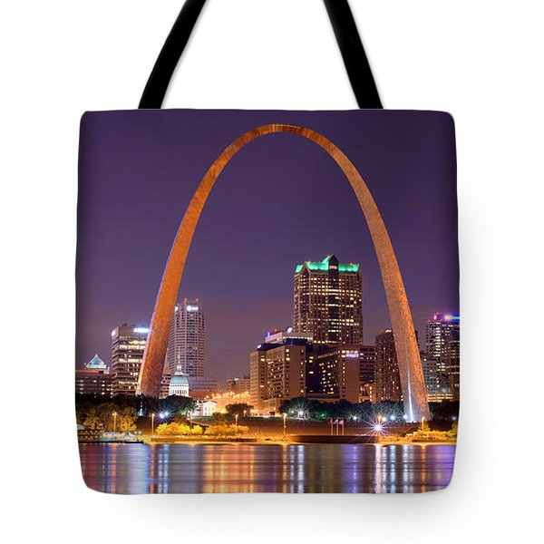 Tote Bag featuring the photograph St. Louis Skyline At Night Gateway Arch Color Panorama Missouri by Jon Holiday