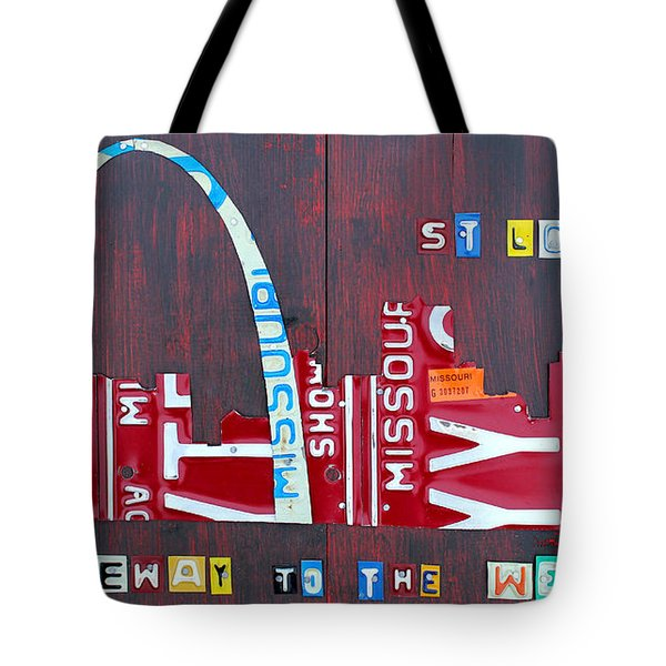 St. Louis Skyline License Plate Art Tote Bag by Design Turnpike