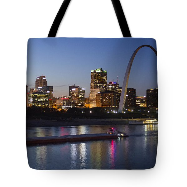St Louis Skyline With Barges Tote Bag