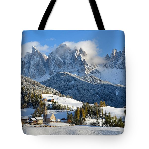 St. Magdalena Village In The Snow In Winter Tote Bag