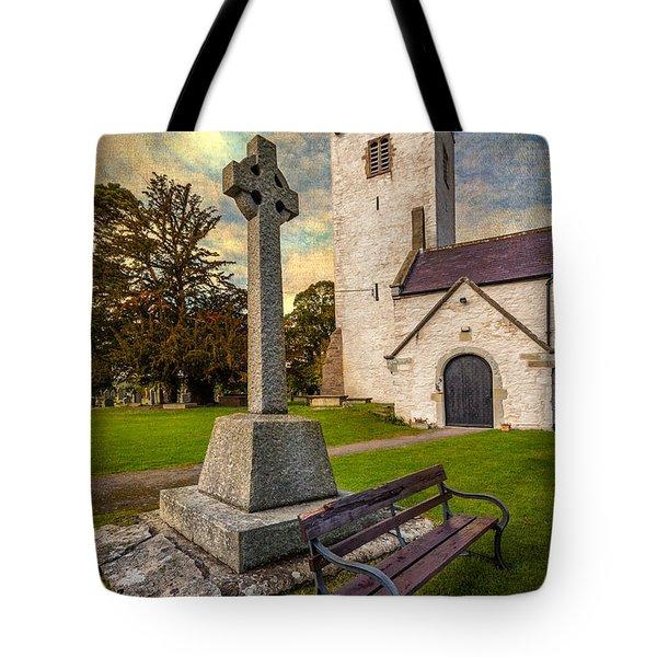 St. Marcellas Celtic Cross Tote Bag by Adrian Evans