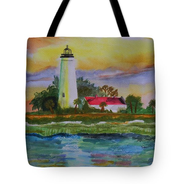 St. Marks Lighthouse-2 Tote Bag by Warren Thompson