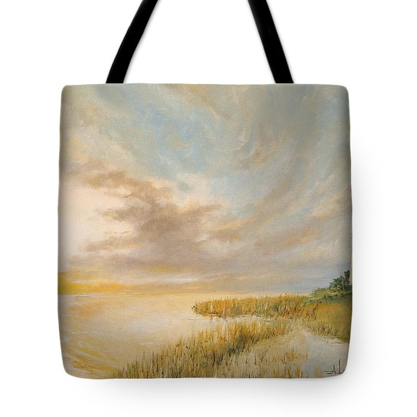 Tote Bag featuring the painting St Marks Lighthouse by Alan Lakin