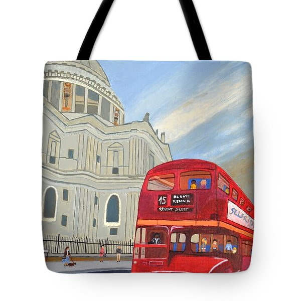 Tote Bag featuring the painting St. Paul Cathedral And London Bus by Magdalena Frohnsdorff
