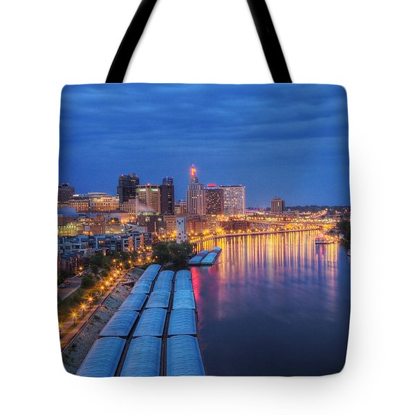 St Paul Skyline At Night Tote Bag