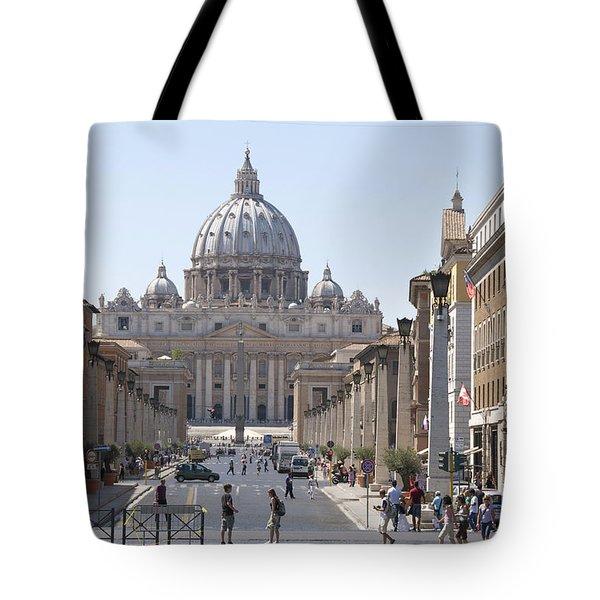 St Peter Basilica Viewed From Via Della Conciliazione. Rome Tote Bag