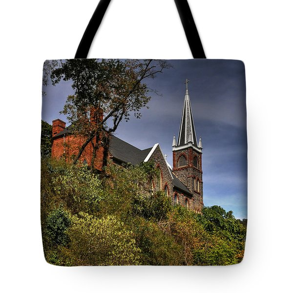 St. Peter's Of Harpers Ferry Tote Bag by Lois Bryan