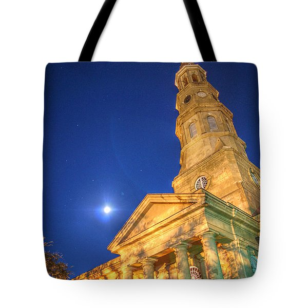 St. Phillip's At Night With Moon And Stars Tote Bag