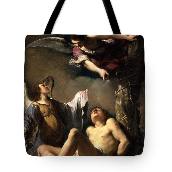 St. Sebastian Succoured By Two Angels Tote Bag