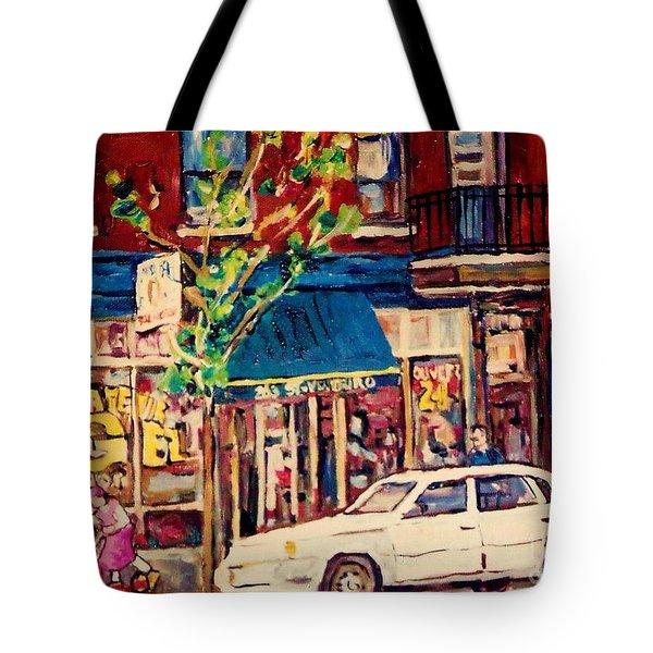 St Viateur Bagel Shop Corner Park Avenue Montreal Streetscenes Tote Bag by Carole Spandau