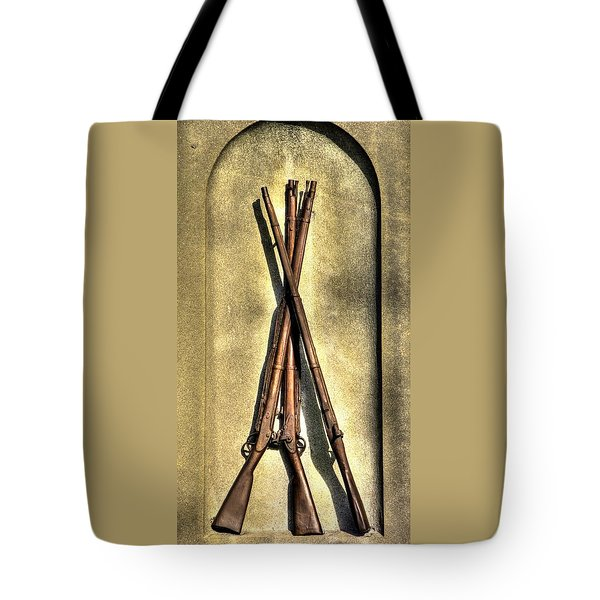 Stacked Musketry No. 1a - Monument To The 151st Pennsylvania Volunteer Infantry At Gettysburg Tote Bag by Michael Mazaika