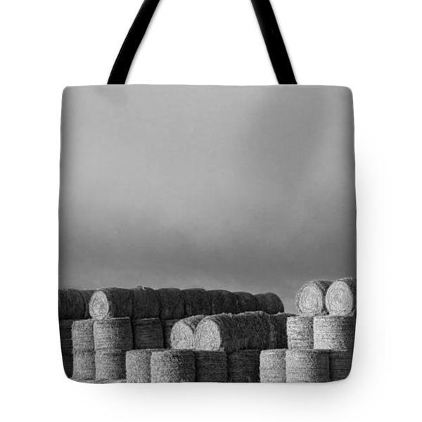 Stacked Round Hay Bales Bw Panorama Tote Bag by James BO  Insogna