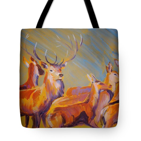 Stag And Deer Painting Tote Bag
