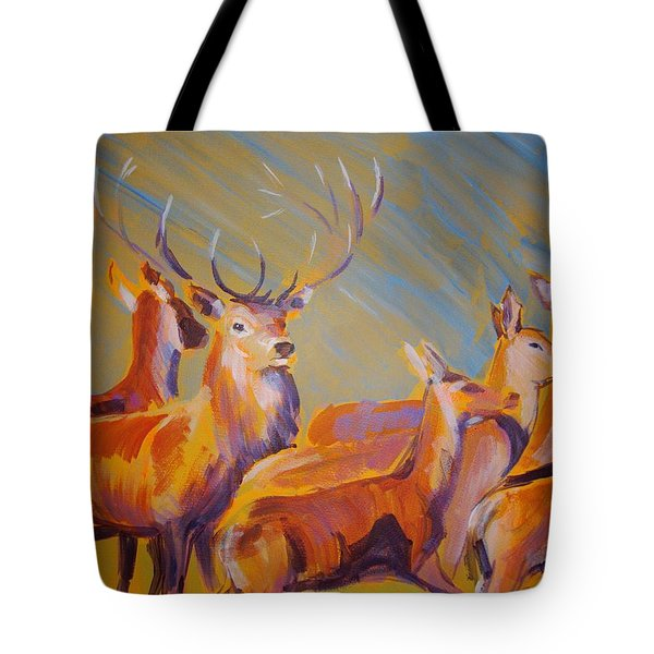 Stag And Deer Painting Tote Bag